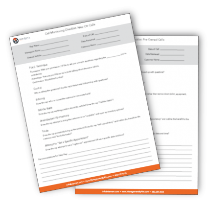 Call Monitoring Checklist from Alan Ram's Proactive Training Solutions